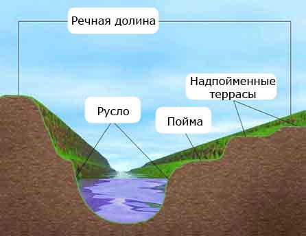 ...часть речной долины, затапливаемая в половодье. понижение земной поверхности по обеим сторонам реки. часть речной.